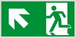 Fluchtwegzeichen - Rettungsweg links aufwärts (E001-3)