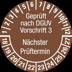 Mehrjahresprüfplakette 2018 - 2027   Geprüft nach DGUV   Wunschfarbe - Folie selbstklebend, braun & weiß - Ø 10 mm  - 50 Stück