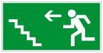 Fluchtwegschild - Rettungsweg Treppe aufwärts links