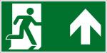 Fluchtwegzeichen -Rettungsweg geradeaus/ rechts oben (E002-4)