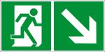 Fluchtwegschild - Rettungsweg rechts abwärts