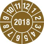 Prüfplakette,mit Jahresfarbe,Monat,D 30mm,Jahresfarbe 2018-braun