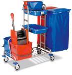 Reinigungswagen,Eimer,Mopp-Presse,Sackhalter,Ablageschale