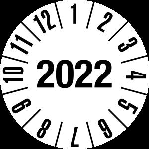 Jahresprüfplakette 2022 | JP222 | Folie selbstklebend | M10 | weiß & schwarz | 10 mm | 50 Stück