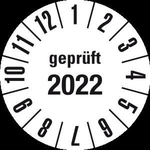 Jahresprüfplakette 2022 | JP622 | Folie selbstklebend | M10 | weiß & schwarz | 10 mm | 50 Stück
