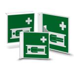 Nasen- oder Fahnenschild   Rettungszeichen - Krankentrage (E013)
