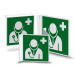 Nasen- oder Fahnenschild   Rettungszeichen - Arzt (E009)