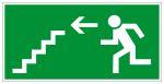 Fluchtwegschild - Rettungsweg Treppe abwärts links