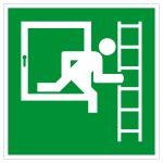 Fluchtwegschild - Notausstieg mit Fluchtleiter rechts