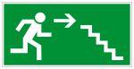 Fluchtwegschild - Rettungsweg Treppe abwärts rechts