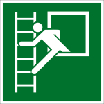 Fluchtwegschild - Notausstieg mit Fluchtleiter